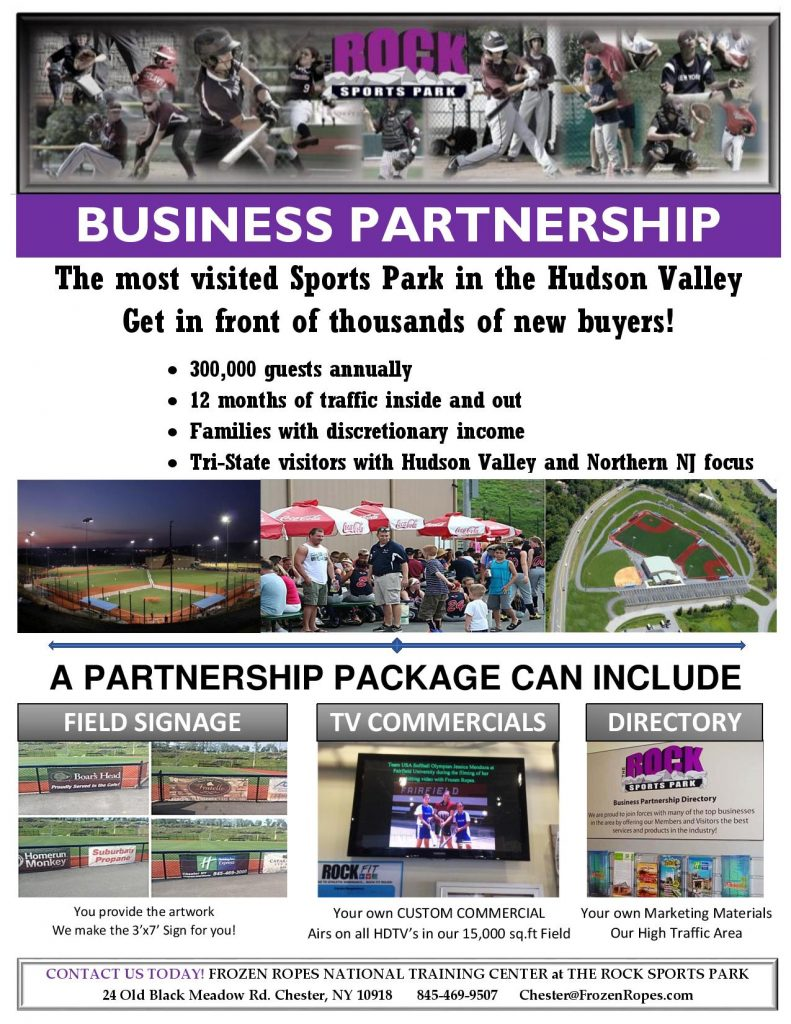 Frozen Ropes Business Partnership flyer