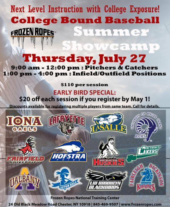 2017 Baseball Summer Showcamp Frozen Ropes Chester Ny