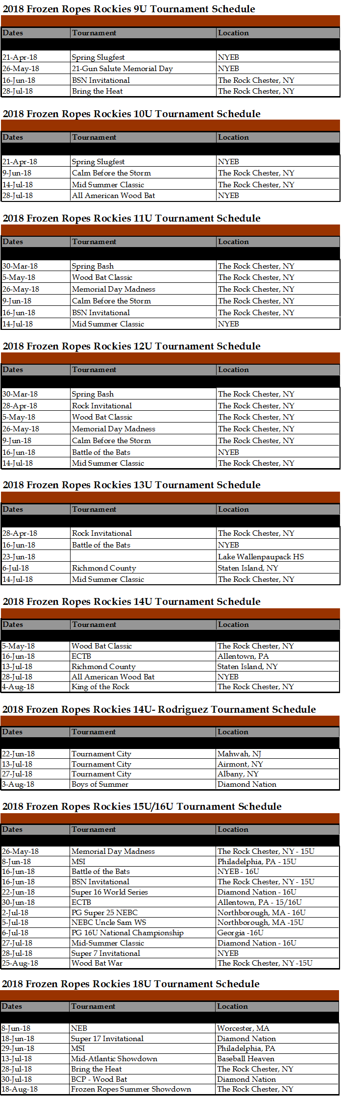 Frozen Ropes Rockies Tournament Schedule