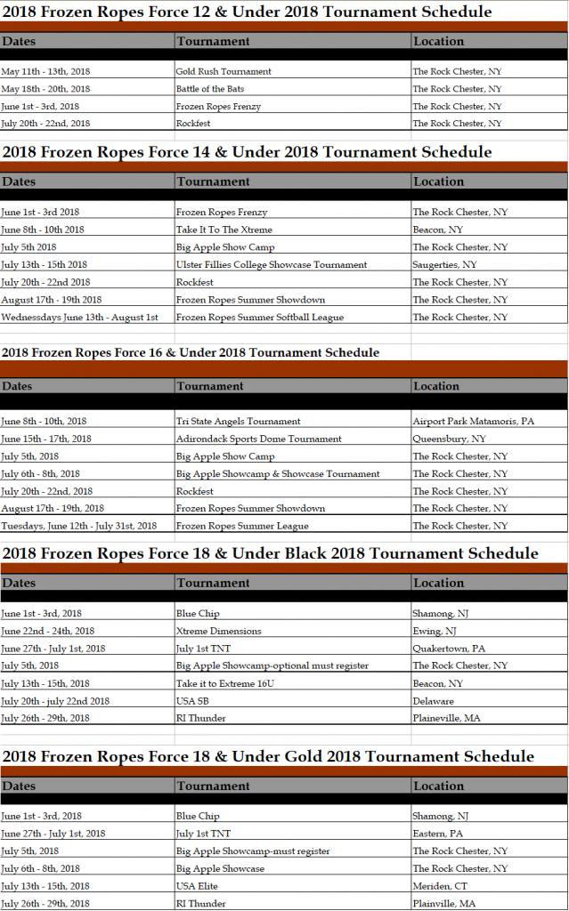 Frozen Ropes Force Tournament Schedule