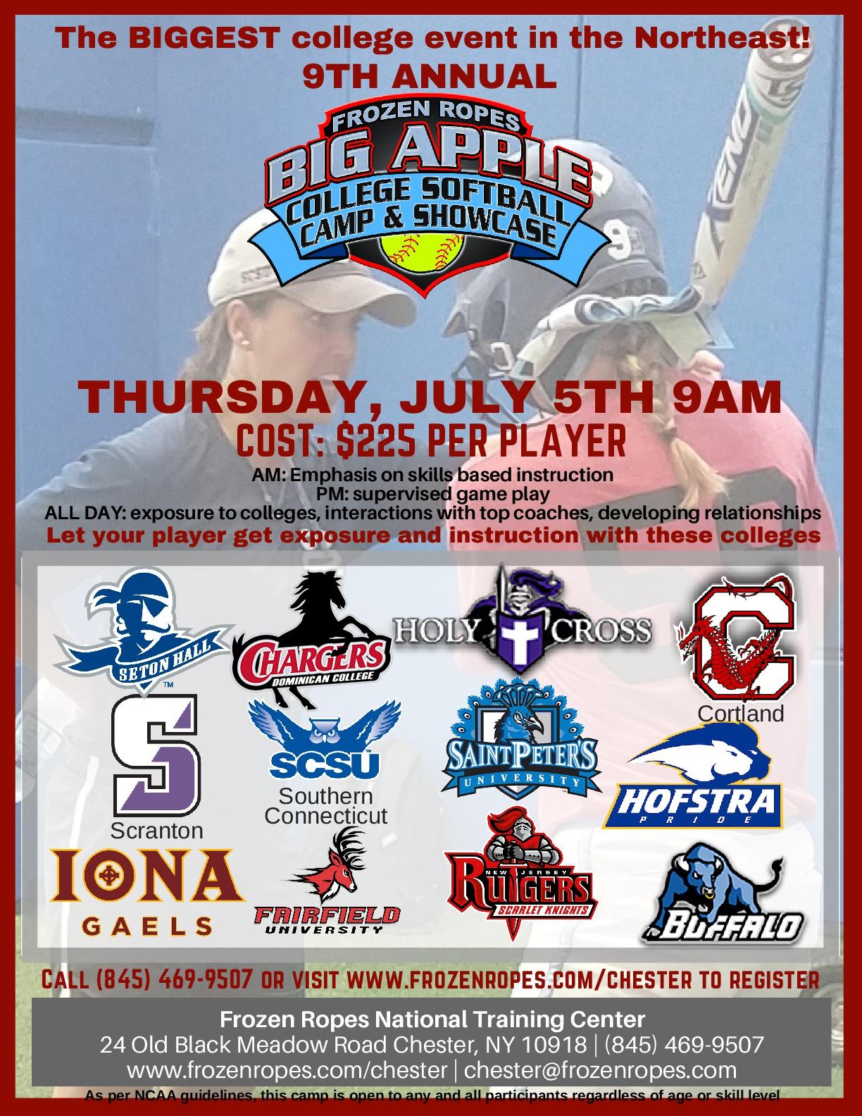 Frozen Ropes Big Apple Softball Show camp & Showcase