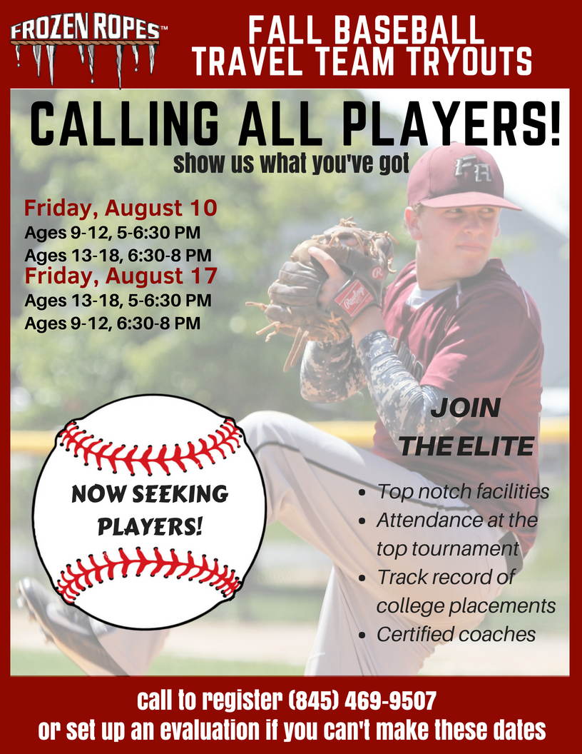 Calling all players! Frozen Ropes Fall Baseball Travel Team Tryouts
