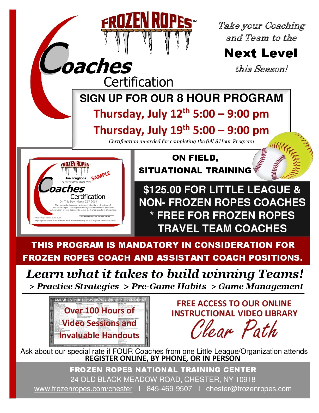 Certification Announcement For Summer 2018 Frozen Ropes Chester Ny