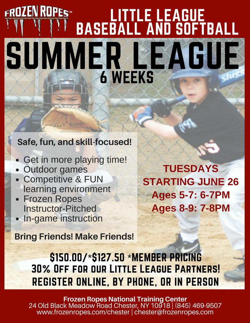 Frozen Ropes Little League Summer League flyer
