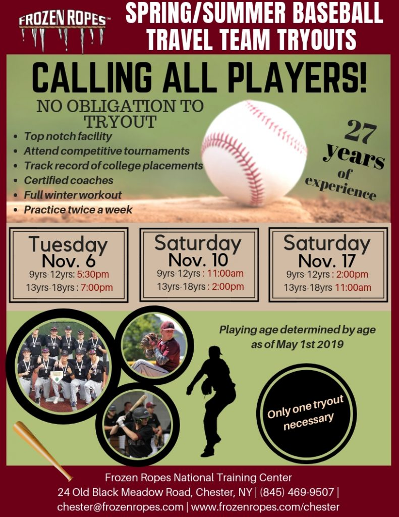 Frozen Ropes Baseball Travel Team Tryouts