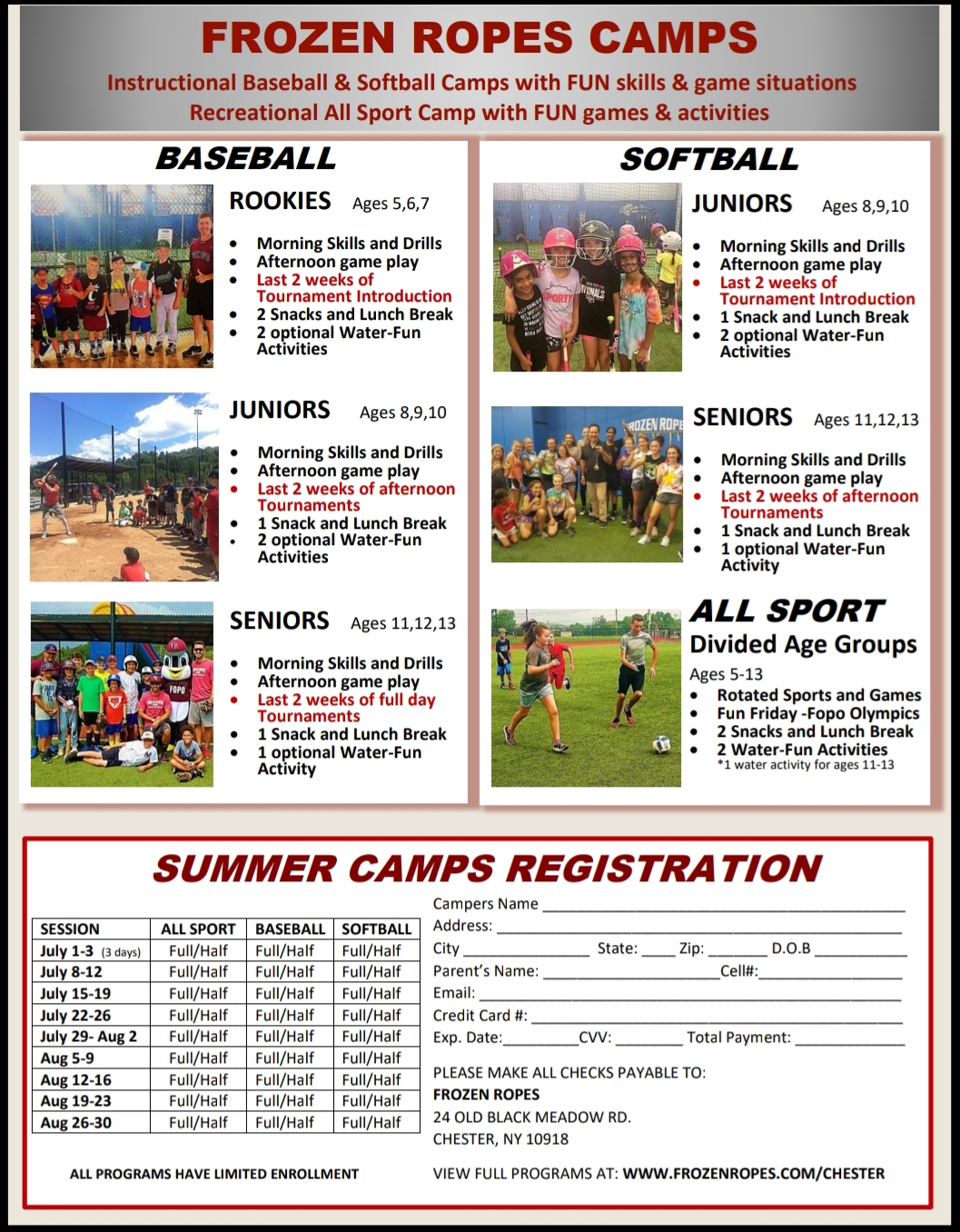 2019 Summer Camps Flyer