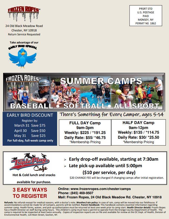 2019 Summer Camps Flyer