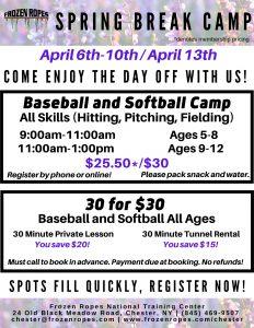 2020 Frozen Ropes Spring Break Baseball and Softball Camps
