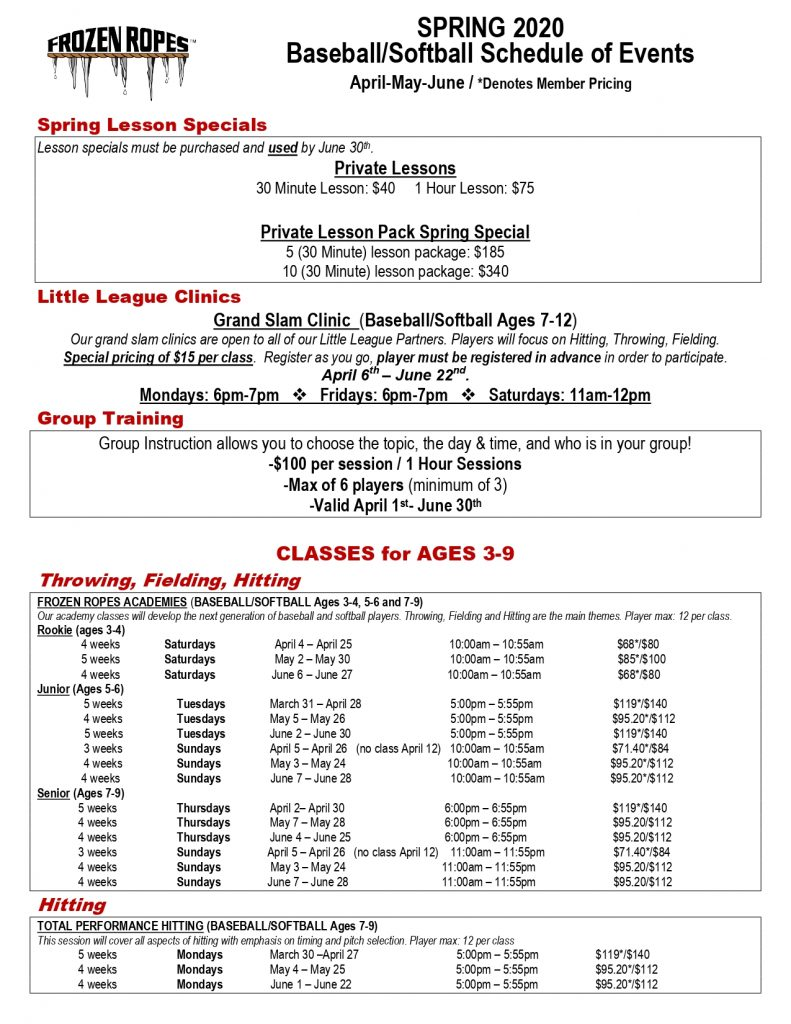 Frozen Ropes, founder Tony Abbatine, Spring Schedule of Events