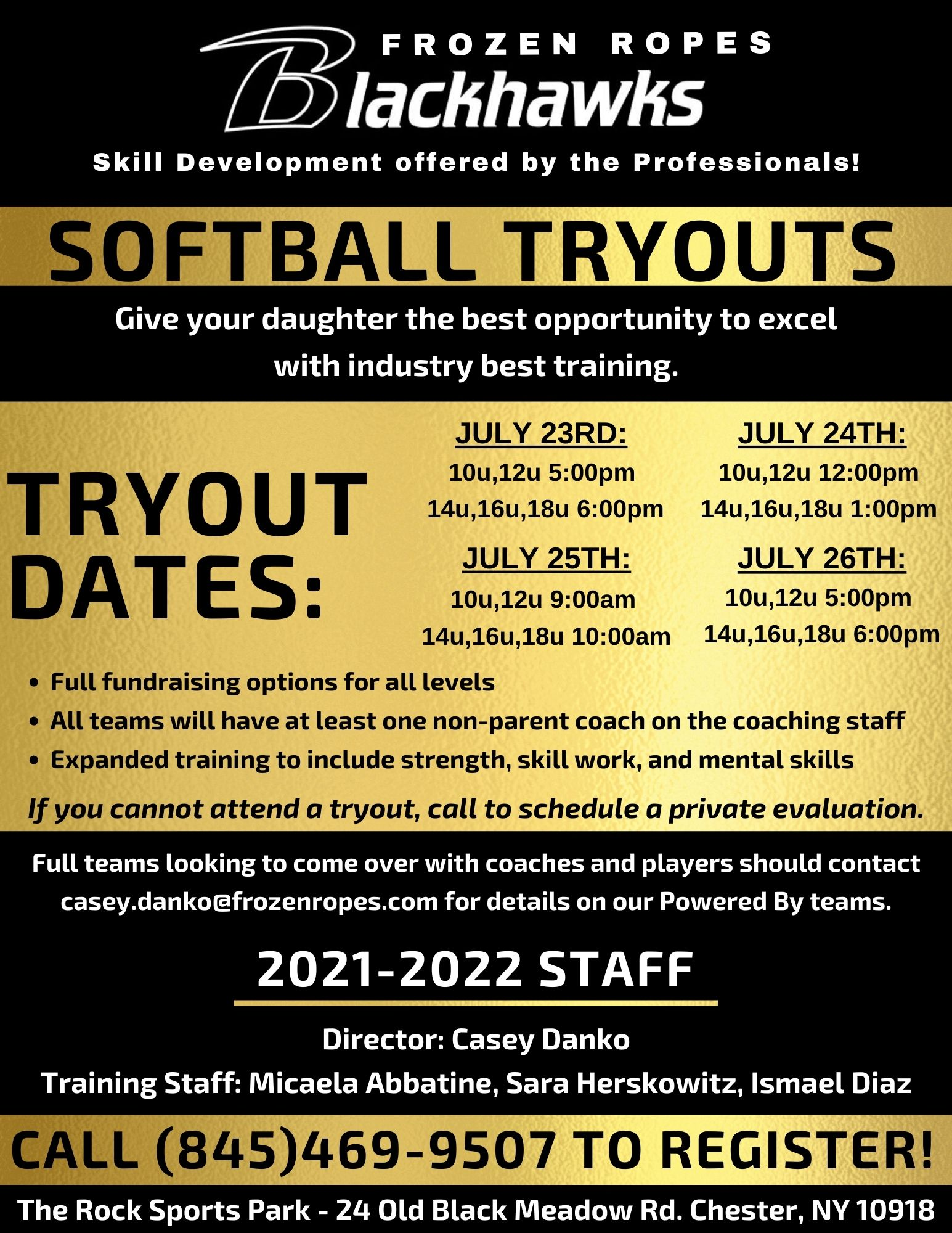 Frozen Ropes softball travel team tryouts