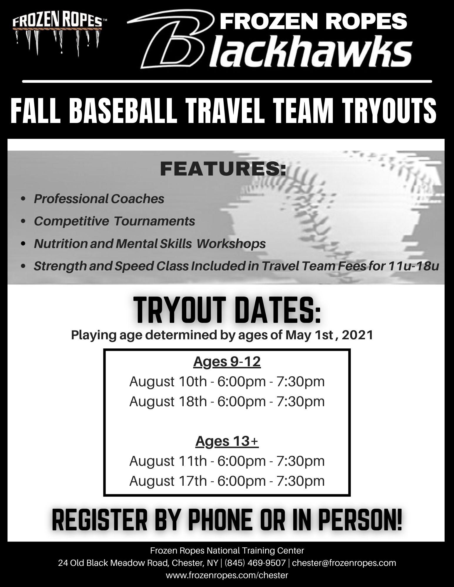 Frozen Ropes baseball tryouts for Fall 2021 season