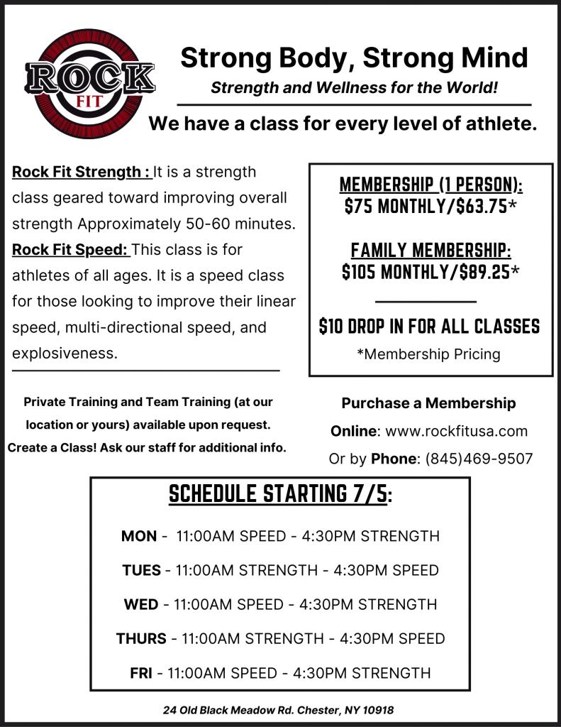 Rock Fit Summer Schedule Starting 7/5