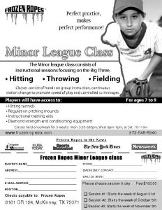 Classes And Clinics Frozen Ropes Mckinney Tx