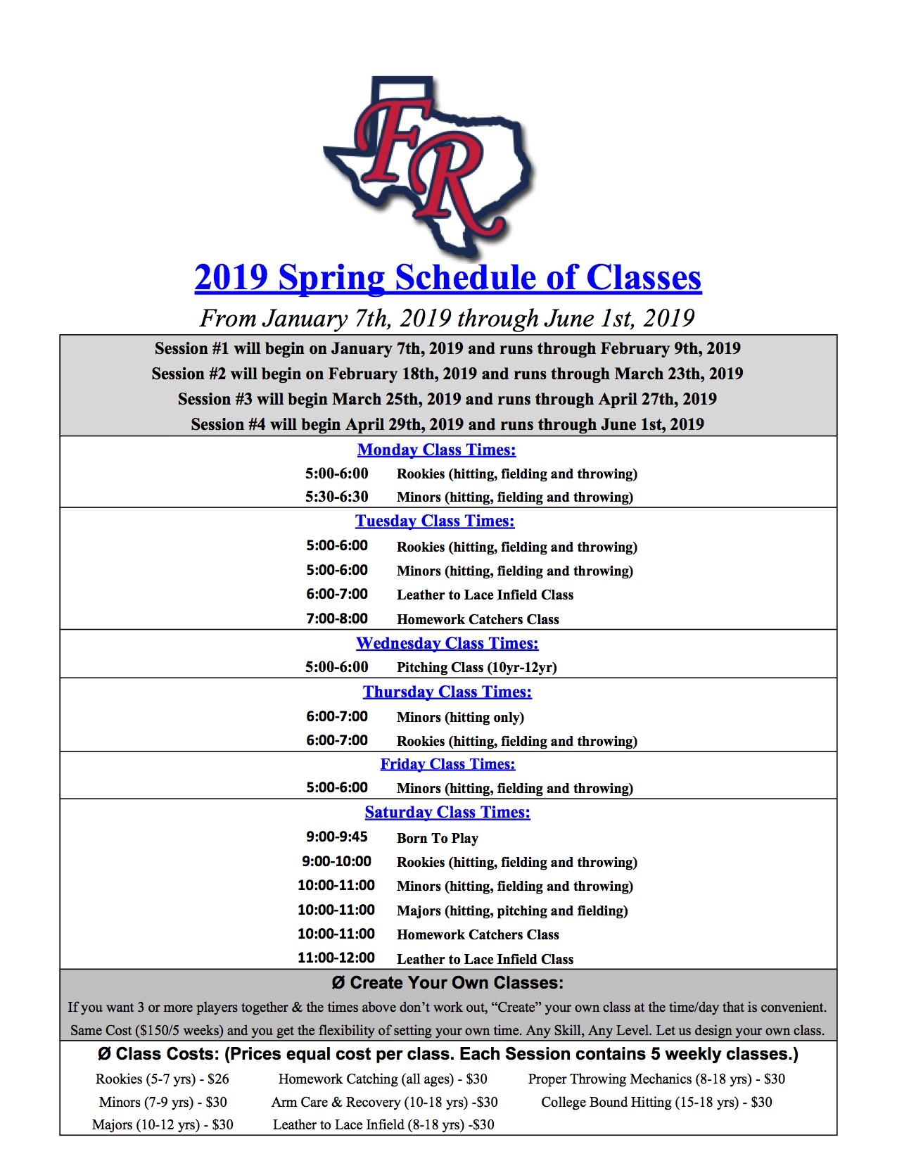 2019 Spring Schedule Sheet1 Frozen Ropes Mckinney Tx