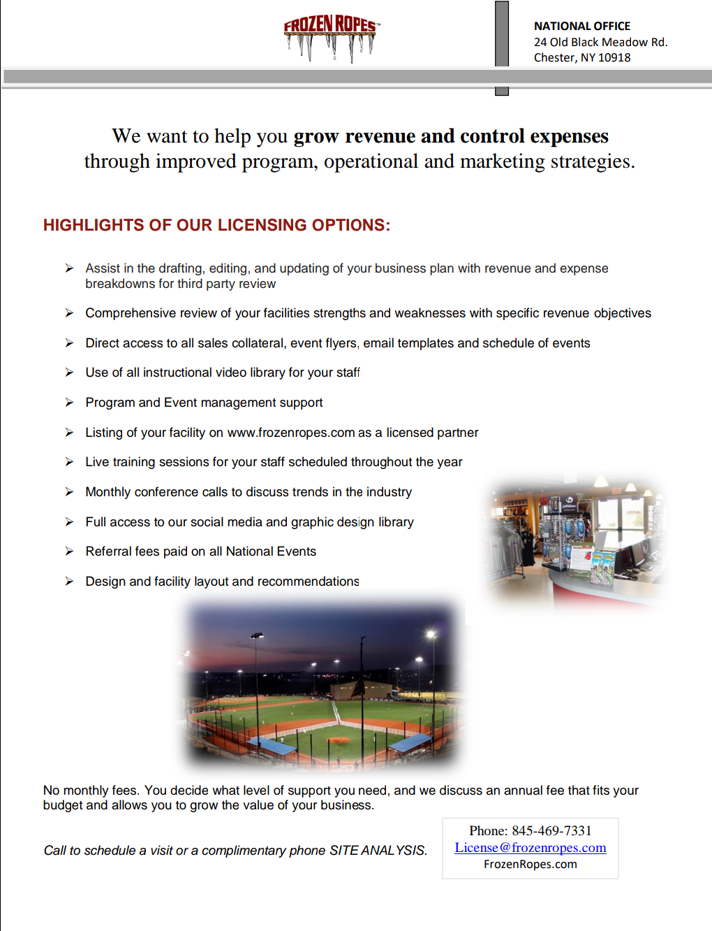 Frozen Ropes Licensing Options flyer